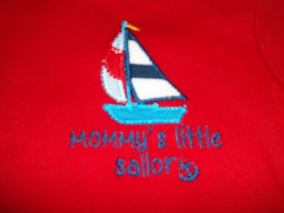 Koala Baby Boys Size 3M Red MOMMY'S LITTLE SAILOR One Piece Shirt GUC