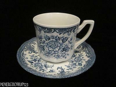 J & G MEAKIN AVONDALE BLUE CUP & SAUCER~ROYAL STAFFORDSHIRE~CHINA~TRANSFERWARE