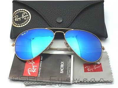 Ray Ban Aviator RB3025 112/4L Gold Blue Mirror POLARIZED Italy 55 mm Pick Case!