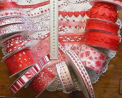 Satin & Nylon HEART Ribbon 15 Mixed 8 to 50mmWide 1 to 5 Metre Length ChoiceCL79