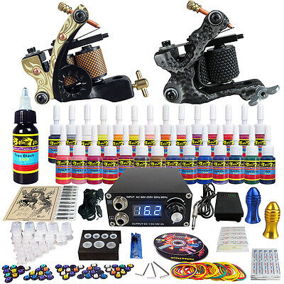 Complete Tattoo Kits 2 Pro coil  Machine Guns 28 Ink Power Supply Needle TK222