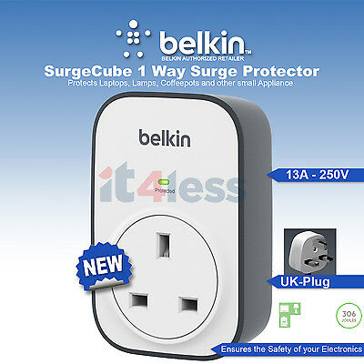Belkin BSV102 SurgeCube 1 Way Surge Protector for Laptop lamp,Coffeepots NEW UK
