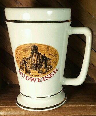 Vintage Budweiser Beer Stein with Picture of the 1892 Brew House & Painted Gold