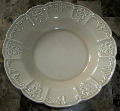 2 Block China Fleur Taupe Embossed Scrolls Scalloped Pasta Soup Bowls