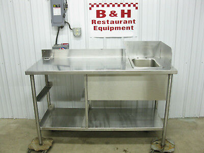 "60"" x 24"" Stainless Steel Heavy Duty Work Prep Table w/ One Bowl Sink 5'"