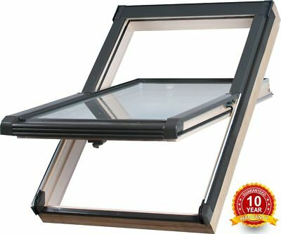 Wooden Timber Roof Window 55 x 98cm Double Glazed Skylight + FREE Roller Blind