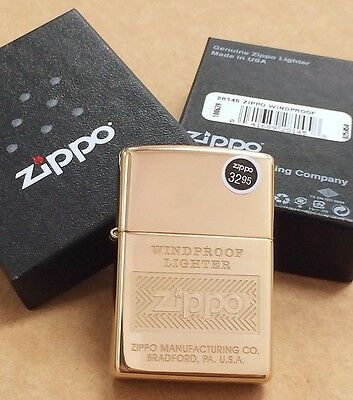 "Zippo High Polish Brass ""Windproof"" Full Lighter #28145 NEW IN BOX"