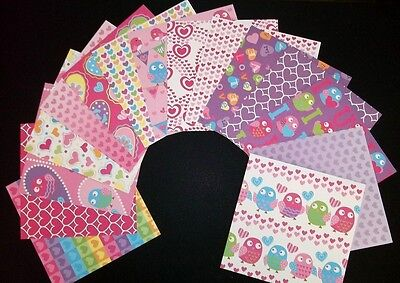 "Beautiful *LOVE BIRDS* Scrapbooking/Cardmaking Papers  - 15cm x 15cm  (6""x 6"")"