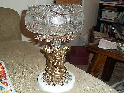 ITALIAN CUT CRYSTAL GLASS BOWL With BRASS PEDESTAL MARBLE COMPOTE CANDY DISH