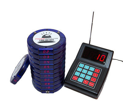 10 Digital Restaurant Coaster Pager / Guest Table Waiting Paging System