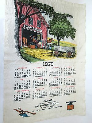 Vintage 1975 Roy Montgomery Realty cloth advertising calendar Plainview, MN