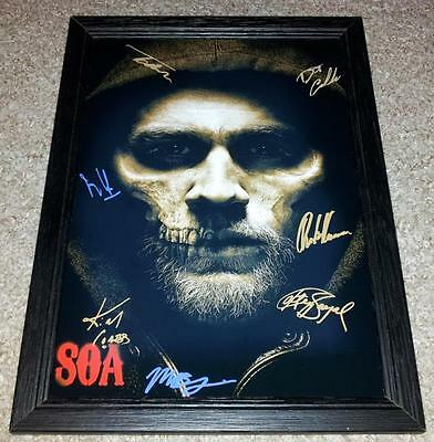 """Sons Of Anarchy Cast X7 Pp Signed & Framed 12""""x8"""" Poster Charlie Hunnam Soa S7"""