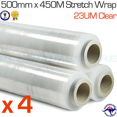4 Rolls 500mm x 450m 23um Clear Hand Stretch Wrap Film Pallet Shrink Wrapping