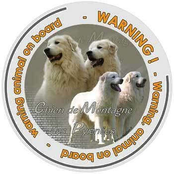 Circular Dogs sticker attention Pyrenean Mountain on board
