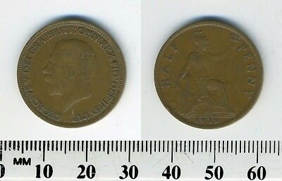 GREAT BRITAIN 1929 -  Half Penny  Bronze Coin - King George V