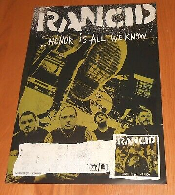 Rancid Honor is All We Know Original Promo Tour Poster  13x19