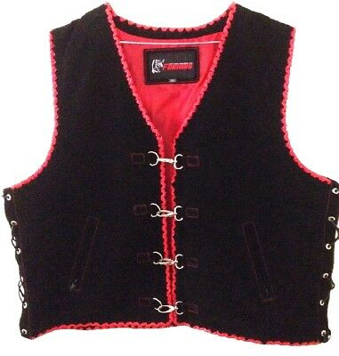 Mens Buckle Motorcycle Vest Suede Biker Style Leather Waistcoat Red Hand Braided