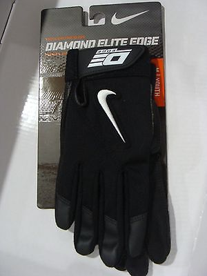 New Nike GB0333 001 Diamond Elite Edge II Batting Gloves Black Size M/ Youth