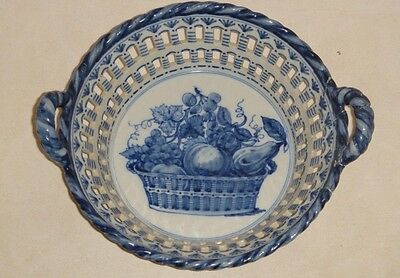 RARE LARGE ANTIQUE 18th CENTURY DUTCH DELFT BLUE AND WHITE POTTERY BASKET