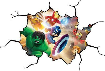 LEGO DC Super Heroes CRACKED WALL Or WINDOW EFFECT Decal STICKER Decor Art Mural