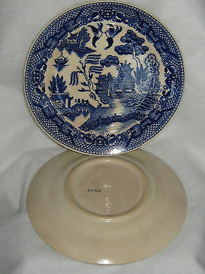 Blue Willow Plate (1) Japanese Hand Painted China