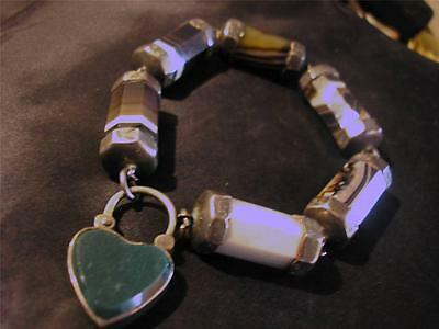 Beautiful Victorian Quality Solid Silver & Scottish Banded Agate Bracelet,1880s