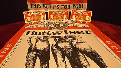 BUDWEISER BEER BUTTWISER FLAG & TAG Combo Advertising License Plate And Banner