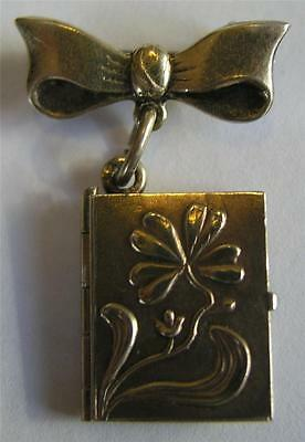 ANTIQUE VICTORIAN SILVER GILDED BOW BROOCH w/ CLOVER PHOTO LOCKET CHARM ~ OPENS