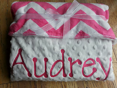Personalized Baby Girl Pink Blanket Embroidered New Monogrammed Chevron Minky
