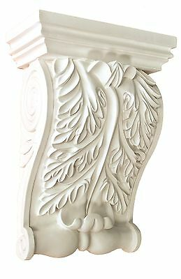 Corbel Acanthus leaf 11 Inch Primed White bracket for wall shelf ceiling molding