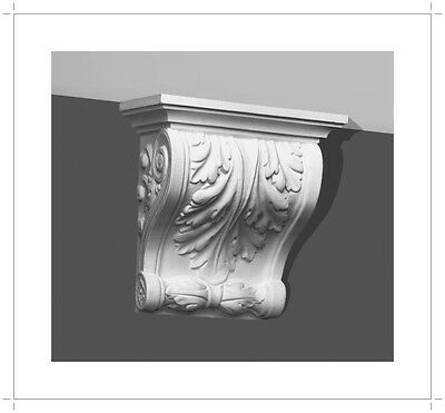 Corbel Acanthus leaf 7 Inch Primed White bracket for wall shelf ceiling molding