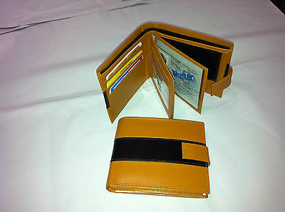 Mens Genuine Leather Wallet w/ 9 Credit Card - Tan (AEW-12)