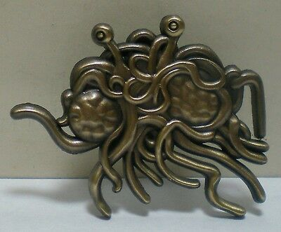 3D Mould Flying Spaghetti Monster Antique Gold Hat Pin Lapel Badge Art Brooch