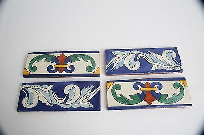 Lot of 3 - 8x3 Arts and Crafts Mexican Hand Painted Glazed Terra Cotta Tiles