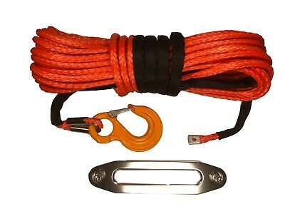 100ft 10mm Synthetic Winch Rope, Hawse & Hook, UHMwPE self recovery 4x4.