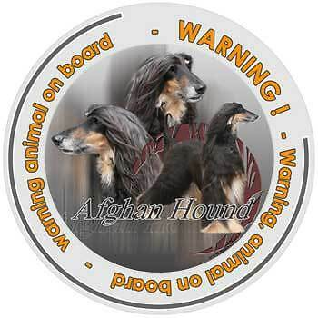 Circular Dogs sticker attention Afghan Hound on board