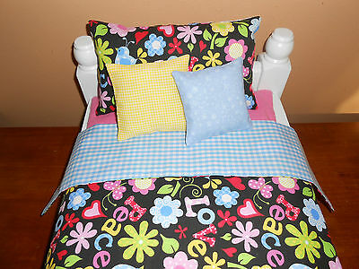 """American Made Doll Bedding Lot for  18"""" Doll   Love and Peace"""