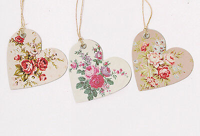 Set of 15 Vintage Rose HEART Shaped Gift Tags
