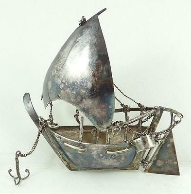Wonderful Vintage Figural Chinese Silver Sailboat with Movable Parts