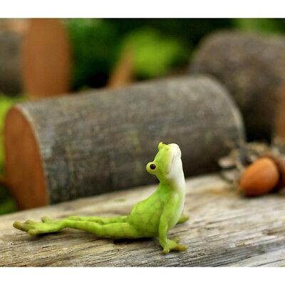 Miniature Dollhouse FAIRY GARDEN - Yoga Frog - Cobra Pose - Accessories