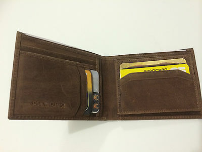 Mens Genuine Hunter Leather Wallet w/11 Credit Card Holder - Dark Brown (AE-08)