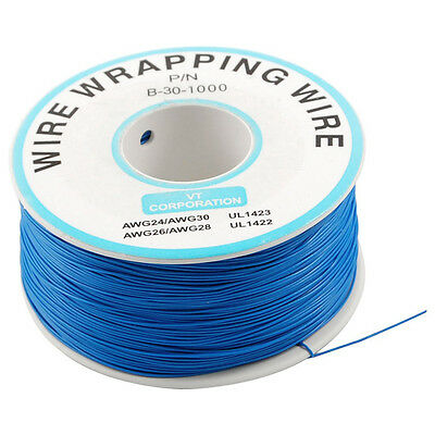 PCB Solder 0.25mm Tin Plated Copper Cord Dia Wire-wrapping Wire 305M 30AWG Blue