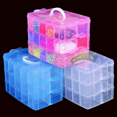 Plastic Empty 3 layer Storage Case Box 30 Slots Jewelry Nail Art Craft Organizer