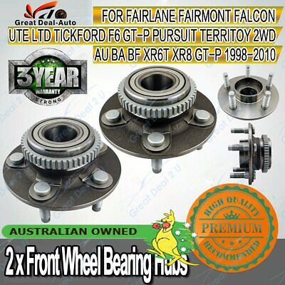 2X Front Wheel Bearing Hubs Ford Falcon Fairmont LTD AU BA BF Territory 2WD ABS