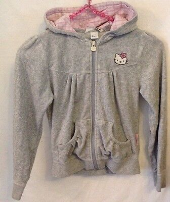 H&M Hello Kitty Grey Pink Fleece Zipped Hoodie Hooded Jumper 7-8yr H122-128cm