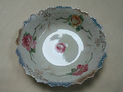 VINTAGE ROSE PATTERN SCALLOPED BOWL MADE IN GERMANY