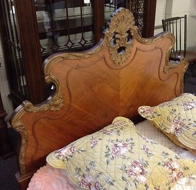 Pair French Provincial Style Twin Beds Johnson Bros. Furn. Co. Walnut w/carvings