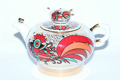Russian Imperial Lomonosov Porcelain Hard Teapot Red Rooster Gold Russia Rare