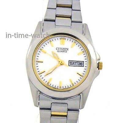 CITIZEN JAPAN QUARTZ LADY WATCH EQ0564-59A TWO TONE STAINLESS STEEL  WR