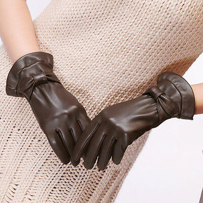 Ladies Woman Genuine Nappa Leather Dress Bow Deco Gloves Many Color On Sale L114